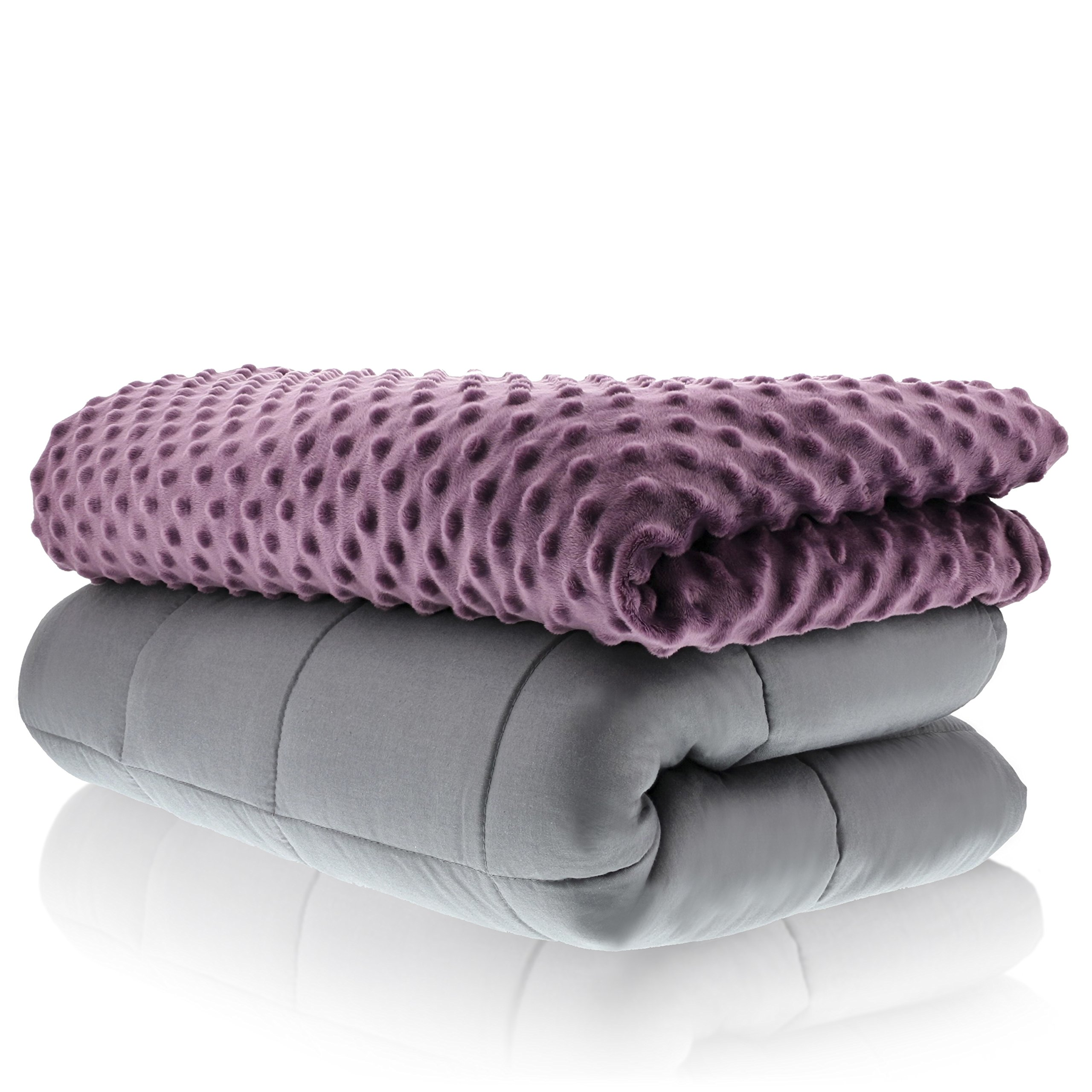 Sonno Zona Weighted Blanket Adult Size - Blanket with Cover Included - Plum 60x80 inches 20 Pound - Blankets Made from Relaxation Sleep Fabric for Natural Calm by Sonno Zona