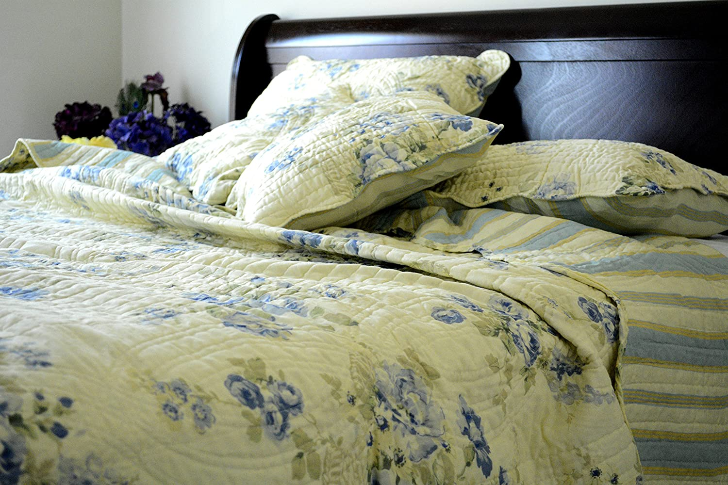 Floral Camellia Quilt Bedspread Set, Light Yellow & Blue, Queen, 5-Pieces