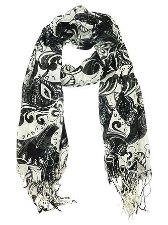 64cb8583e1b Foulard echarpe imprime fleur noir et blanc femme Noir  Amazon.fr ...