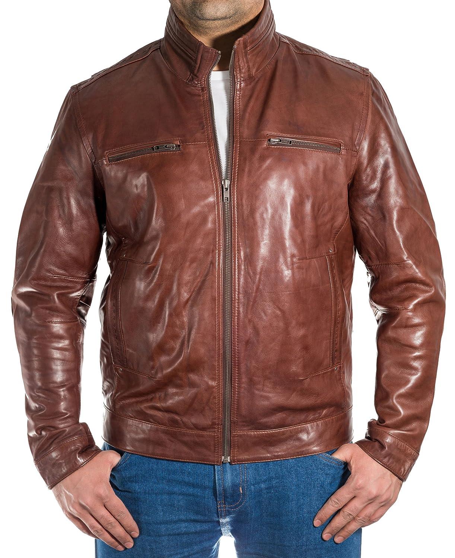 Chestnut Brown Mens Classic Smart Casual Retro Vintage Biker Jacket