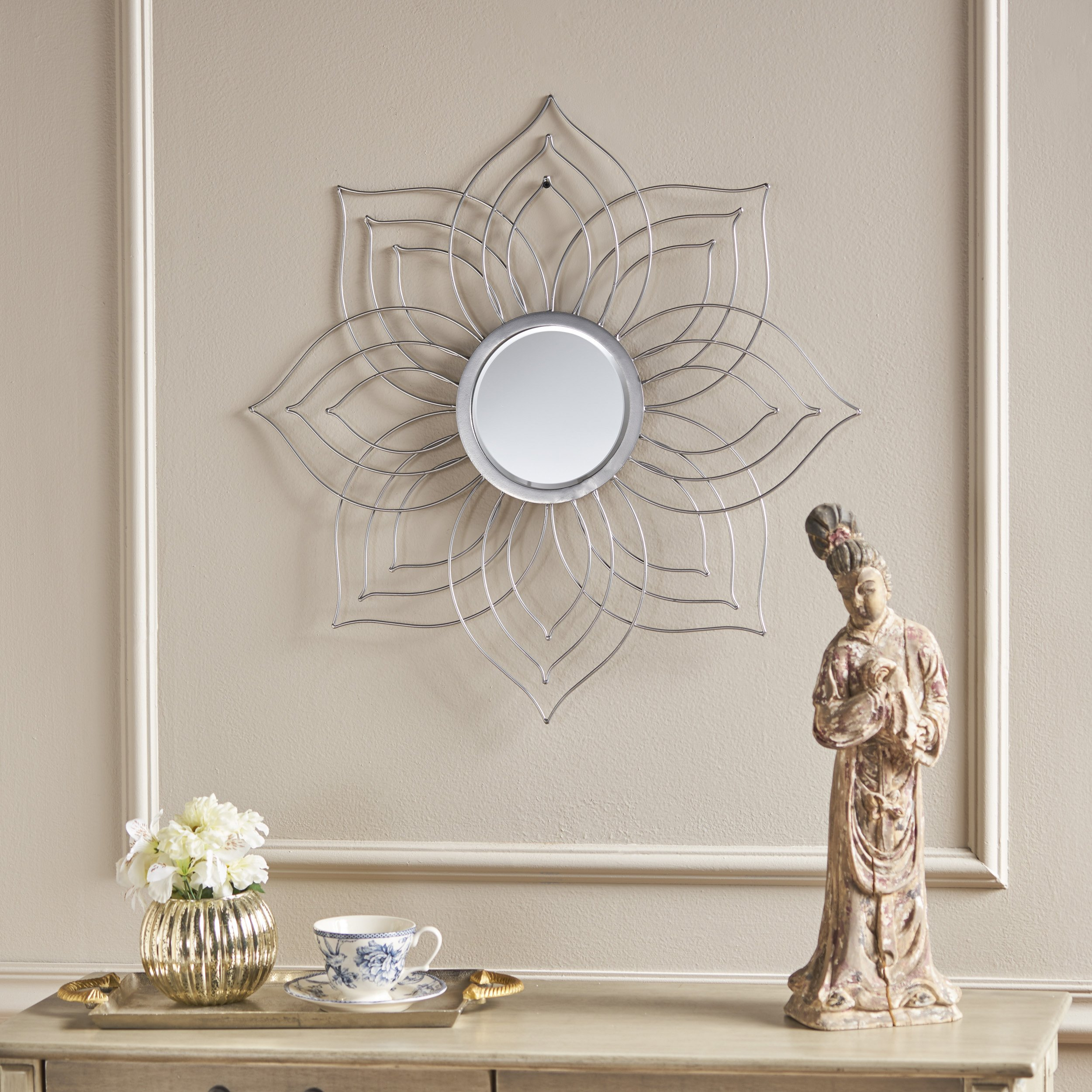 Christopher Knight Home 302089 Oakley Floral Wall Mirror, Silver