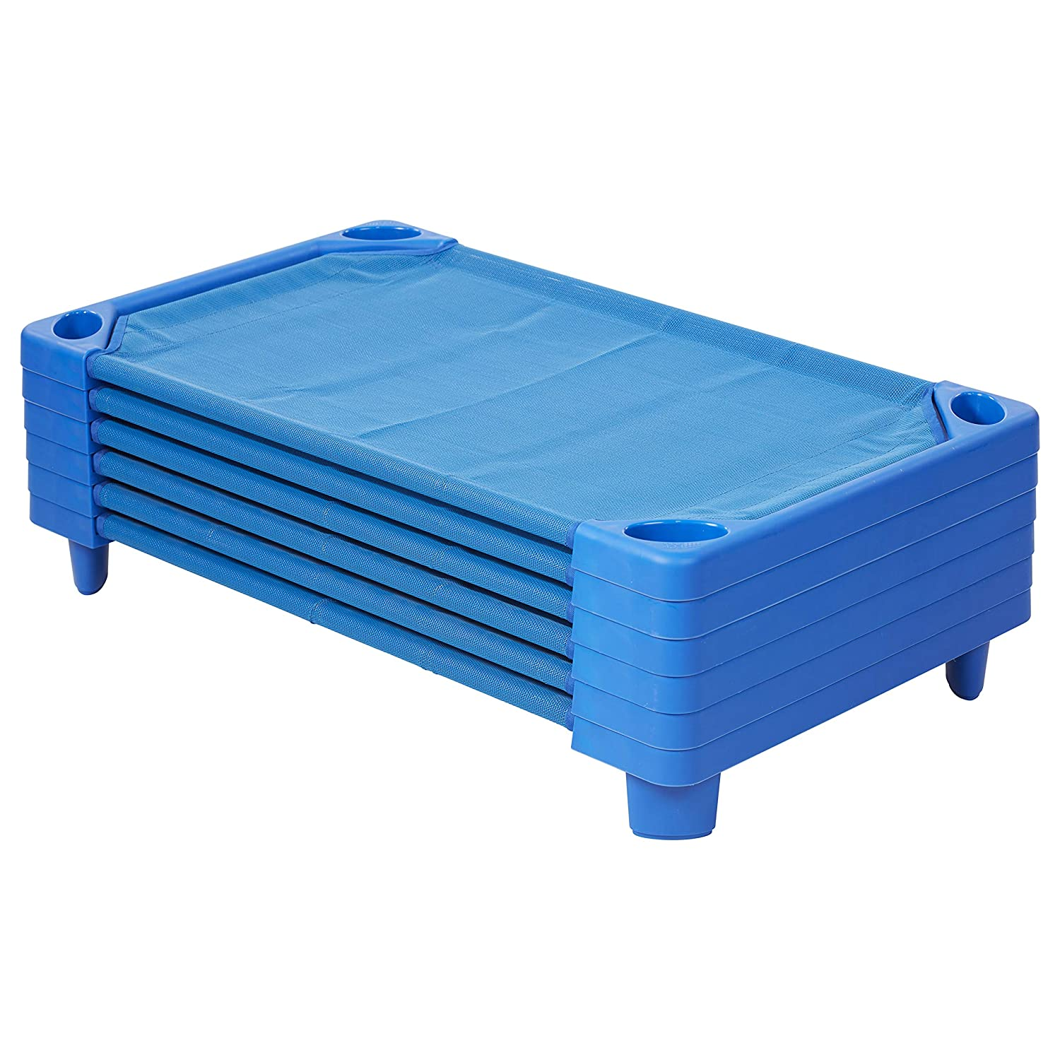 """ECR4Kids Streamline Toddler Naptime Cot, Stackable Daycare Sleeping Cot for Kids, 40"""" L x 23"""" W, Ready-to-Assemble, Blue (set of 6)"""