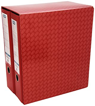 Elba 100580052 - Modulo de 2 archivadores 8 cm, color rojo: Amazon ...
