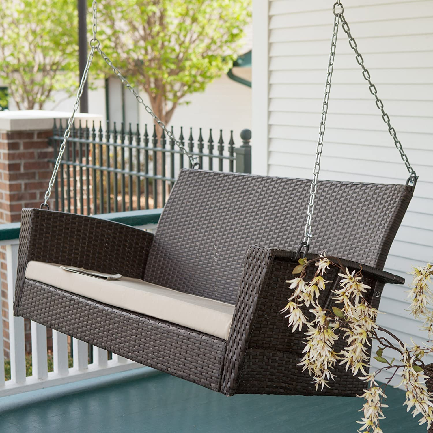 Amazon.com : Coral Coast Soho Wicker Porch Swing With Free : Garden U0026  Outdoor