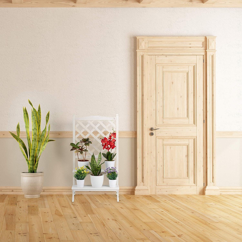 109 x 61 x 39 cm wei/ß Pflanzentreppe Holz f/ür Blumen Blumenregal mit 2 Stufen Relaxdays Blumentreppe mit Rankgitter