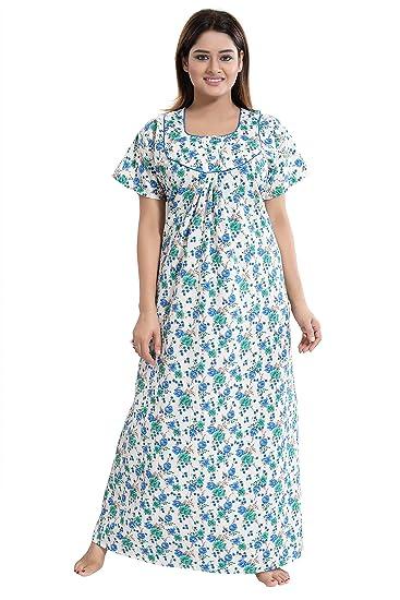 81736cc4102 TUCUTE Women s Girls Poly-Cotton Crush Fabric Beautiful Print Nighty Night  Gown
