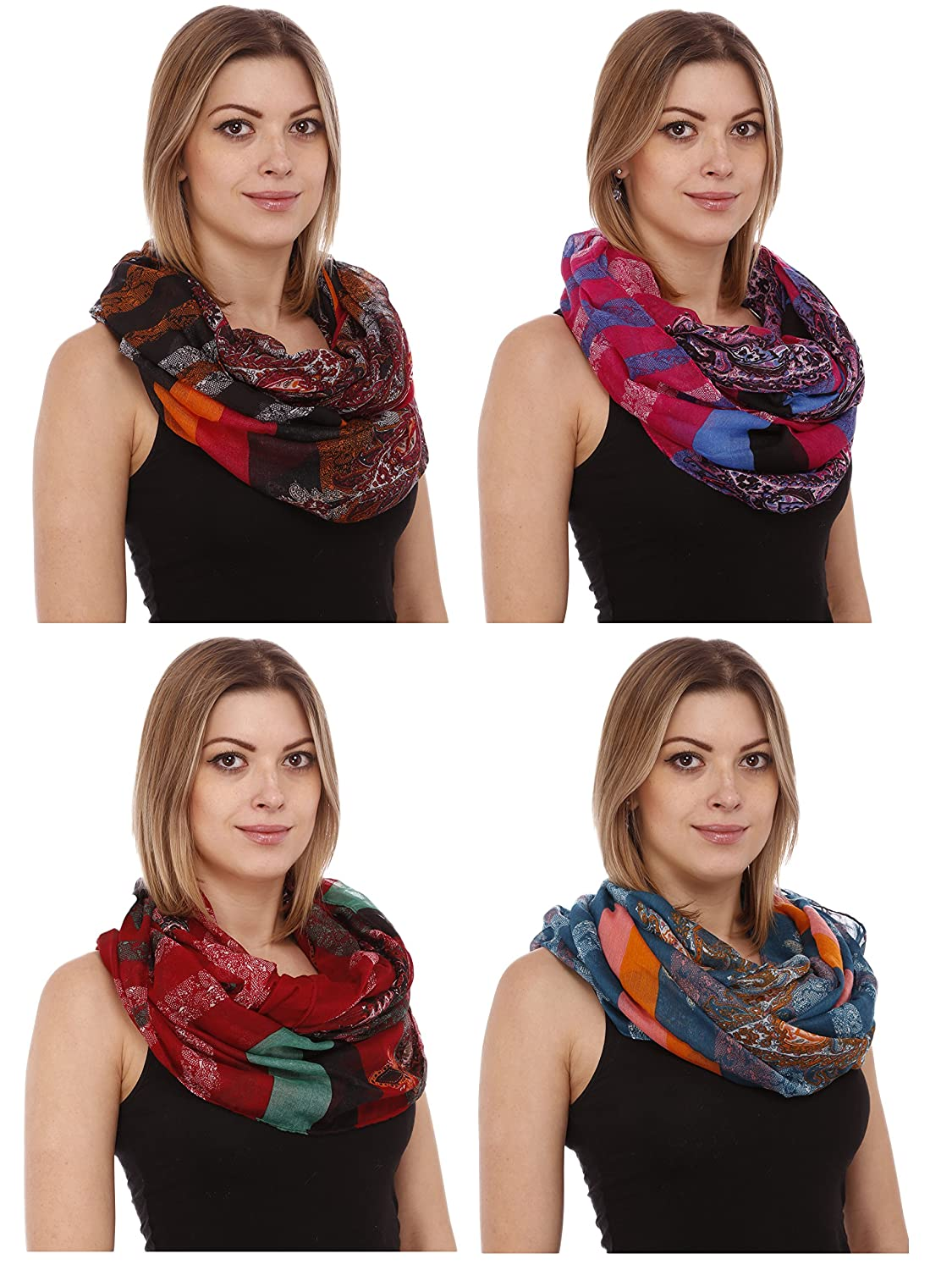 Gilbin Lightweight Stylish Beautiful Summer Oil Paint Classic Pattern Infinity Scarf 6 Pack
