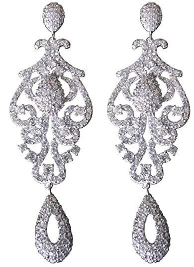 b7039d6824a7 Amazon.com  Large Pageant 14K White Gold Plated VS Lab Diamonds Chandelier  Dangle Earrings Prom (White)  Jewelry