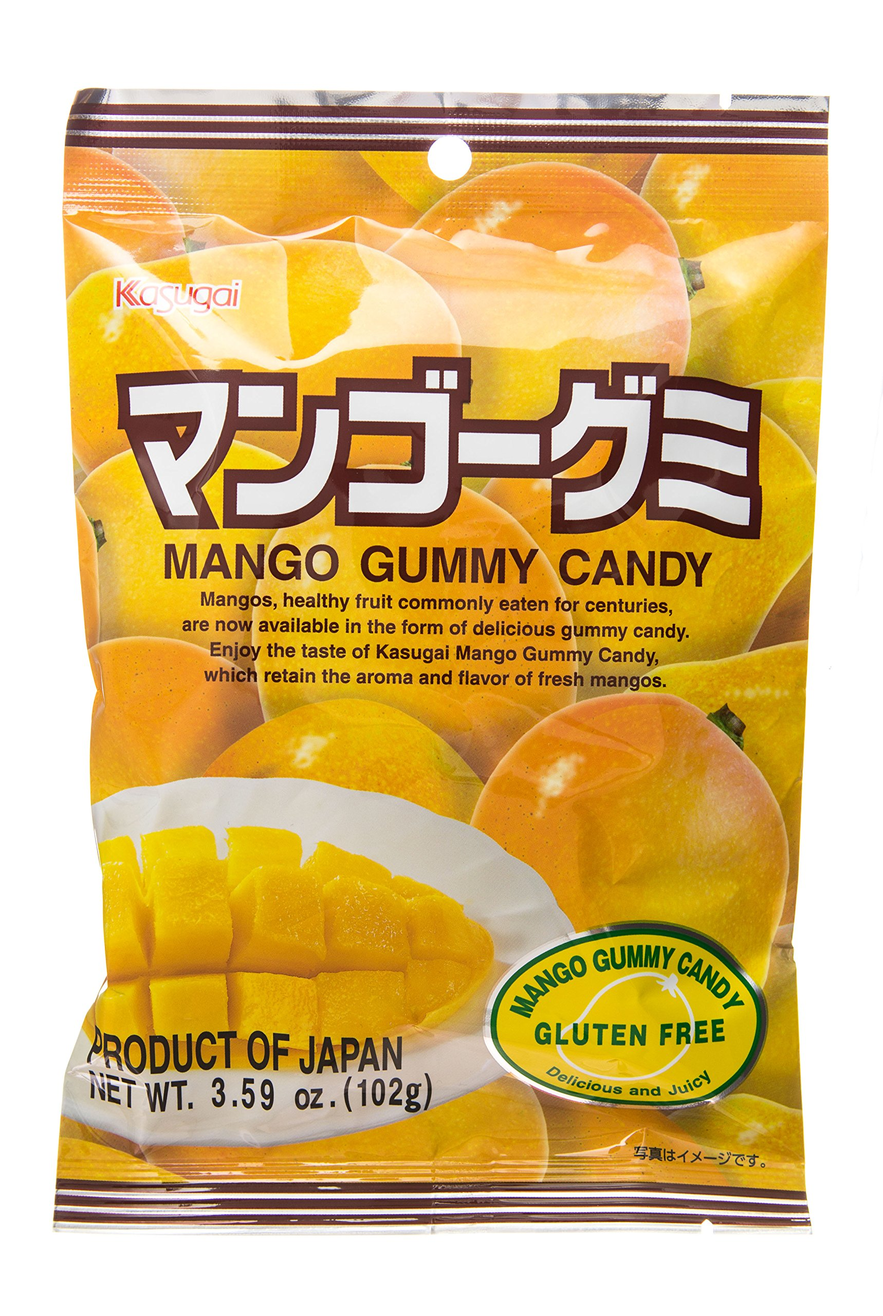 Kasugai Gummy Candy, Mango, 3.59-Ounce Bags (Pack of 12)