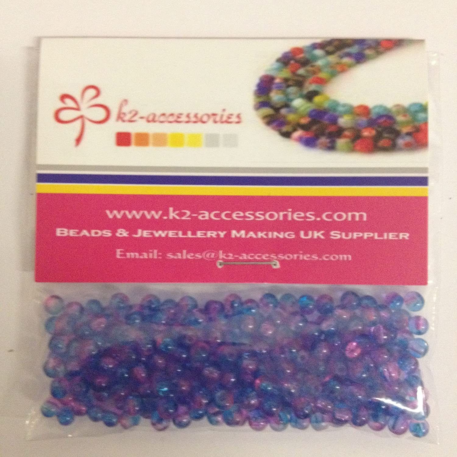 200 pieces 4mm Crackle Glass Beads - Aqua & Pink - A1420 k2-accessories