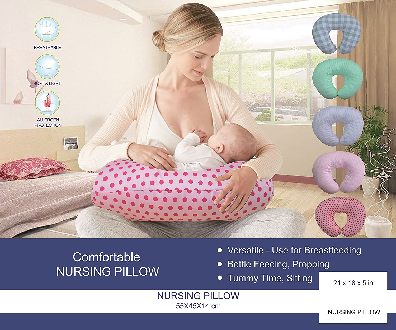 Comfortable Printed Cotton Nursing Pillow for Mom and Baby by All American Collection 21 x 18, Pink Flower Soft and Light New Portable