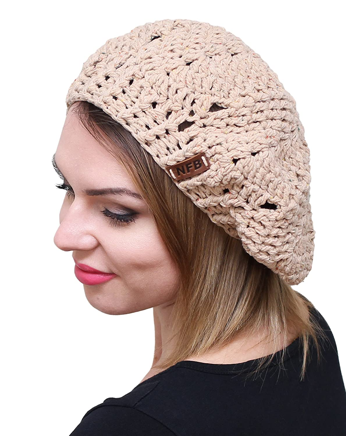 a522eef6a4c NFB Trendy Women Beret Chunky Beanie Hat Slouchy Beret Knitted Speckled  Beanie (Beige) at Amazon Women s Clothing store
