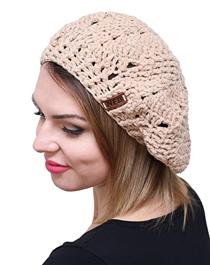 6c078ee0834 NFB Trendy Women Beret Chunky Beanie Hat Slouchy Beret Knitted Speckled  Beanie (Beige)