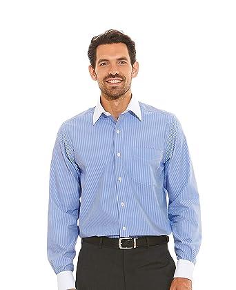 """da654274c9 Savile Row Men's Blue White Poplin Reverse Stripe Classic Fit Shirt -  French Cuff 15"""""""