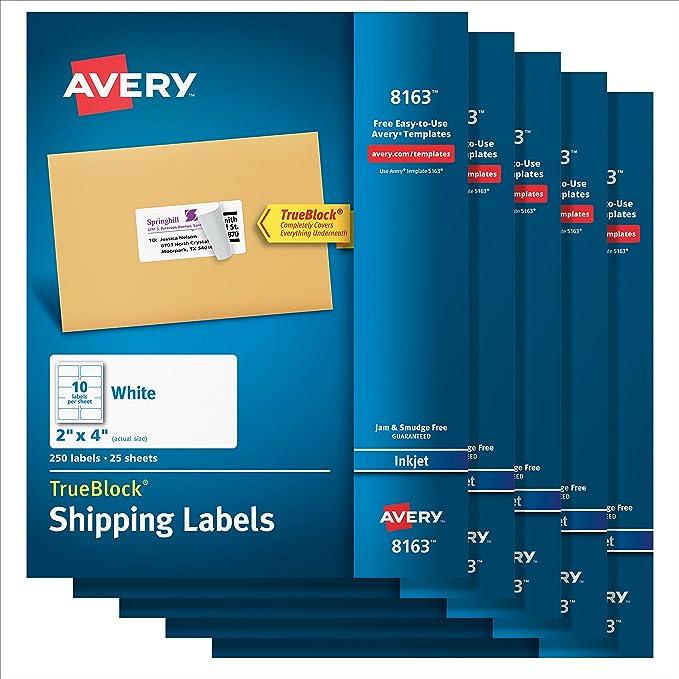 Amazon Avery Shipping Address Labels Inkjet Printers 1 250