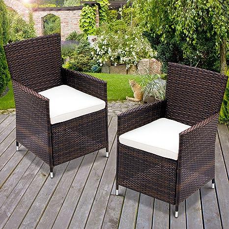 Miadomodo - Conjunto de 2 sillones de jardín de poliratán marrón
