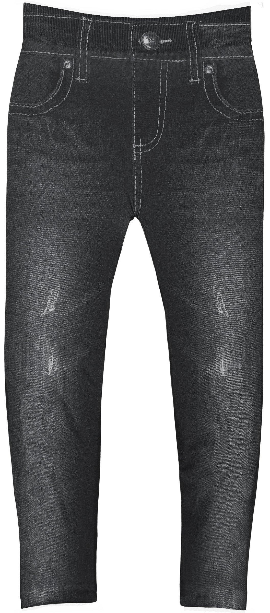 Crush Toddler Girls Blue Jean Print Leggings in 7 Fun Styles in Sizes 2T-4T (2T-4T, 22492 Black)