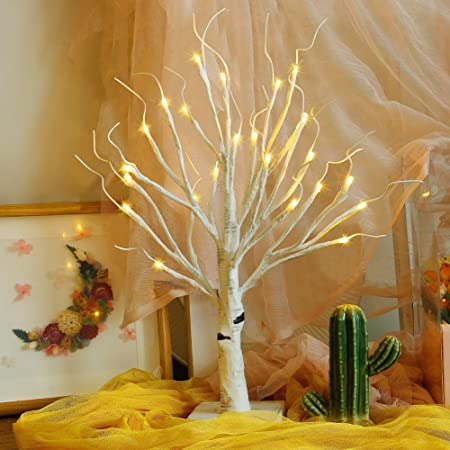 Twinkle Star 24 Led Tabletop Lighted Birch Tree Battery Operated Thanksgiving Table Decoration Lights For Indoor Christmas Wedding Party Home Bedroom Fall Decoration Home Kitchen