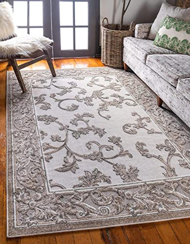 Unique Loom Outdoor Botanical Collection Carved Botanical Border Transitional Indoor and Outdoor Flatweave Beige Area Rug 7' 0 x 10' 0