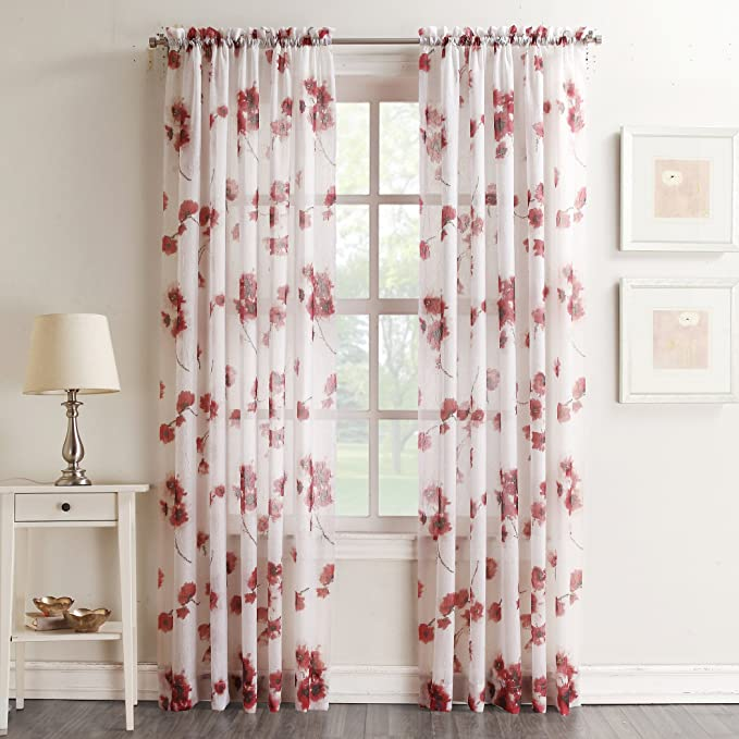 Amazon Com No 918 Kiki Floral Print Crushed Sheer Voile Rod Pocket Curtain Panel 51 X 84 Coral Home Kitchen