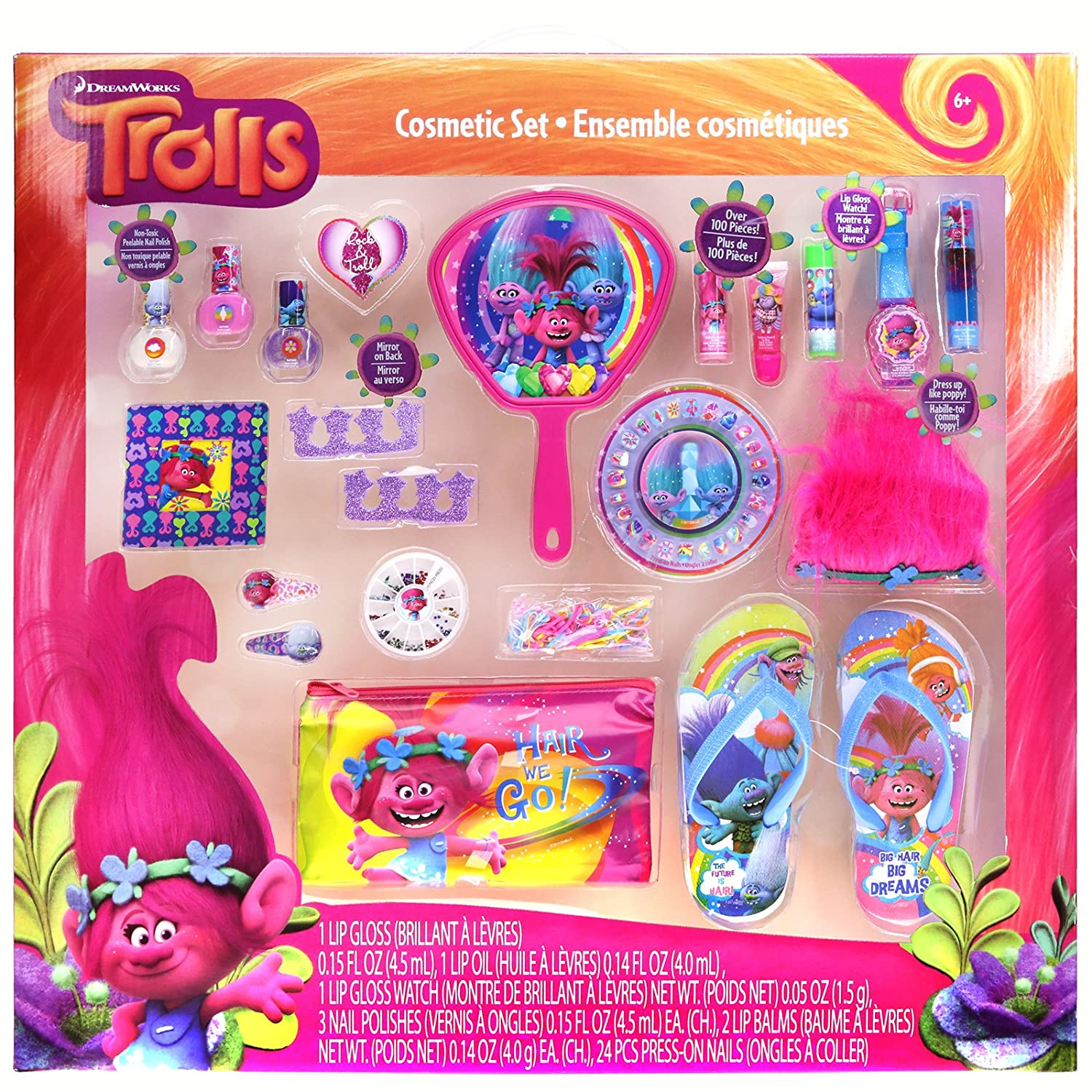 Townley Girl Dreamworks Trolls Cosmetic Set with Nail Polish, Lip Gloss, Press-On Nails, Sandals, Toe Separators, and More TownleyGirl