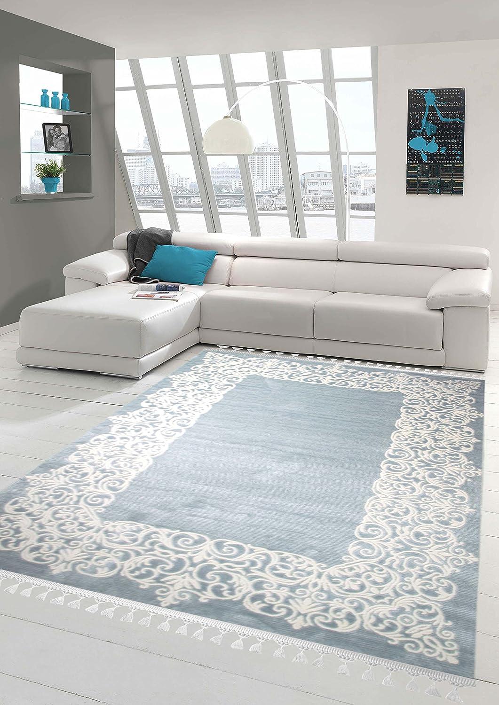 Designer Teppich Moderner Teppich Wollteppich Bordüre Design mit Fransen Wohnzimmer Teppich Türkis Creme Größe 80 x 300 cm