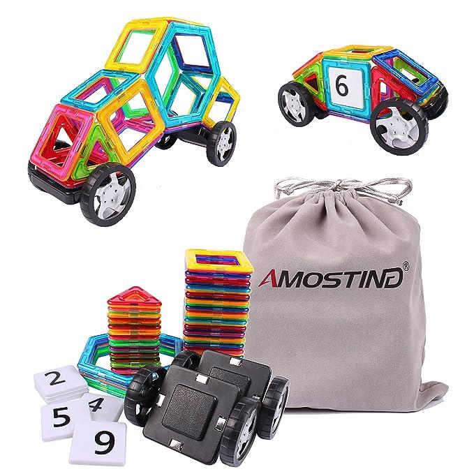 AMOSTING Magnetic Tiles Building Block Magnet Stacking Toy Set - 48pcs