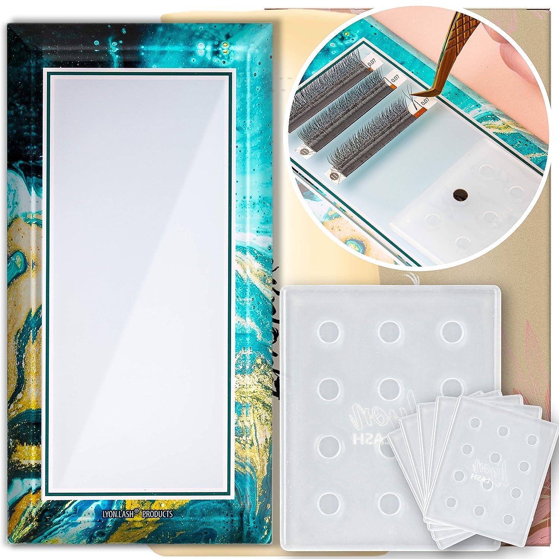 Lyon Lash Glue Tray & Glass Lash Tile/Lashes Palette Bundle | Single Drops Of Glue and Lash Fans Adjustment | Classic & Volume Lashing | Eyelash Extension Supplies