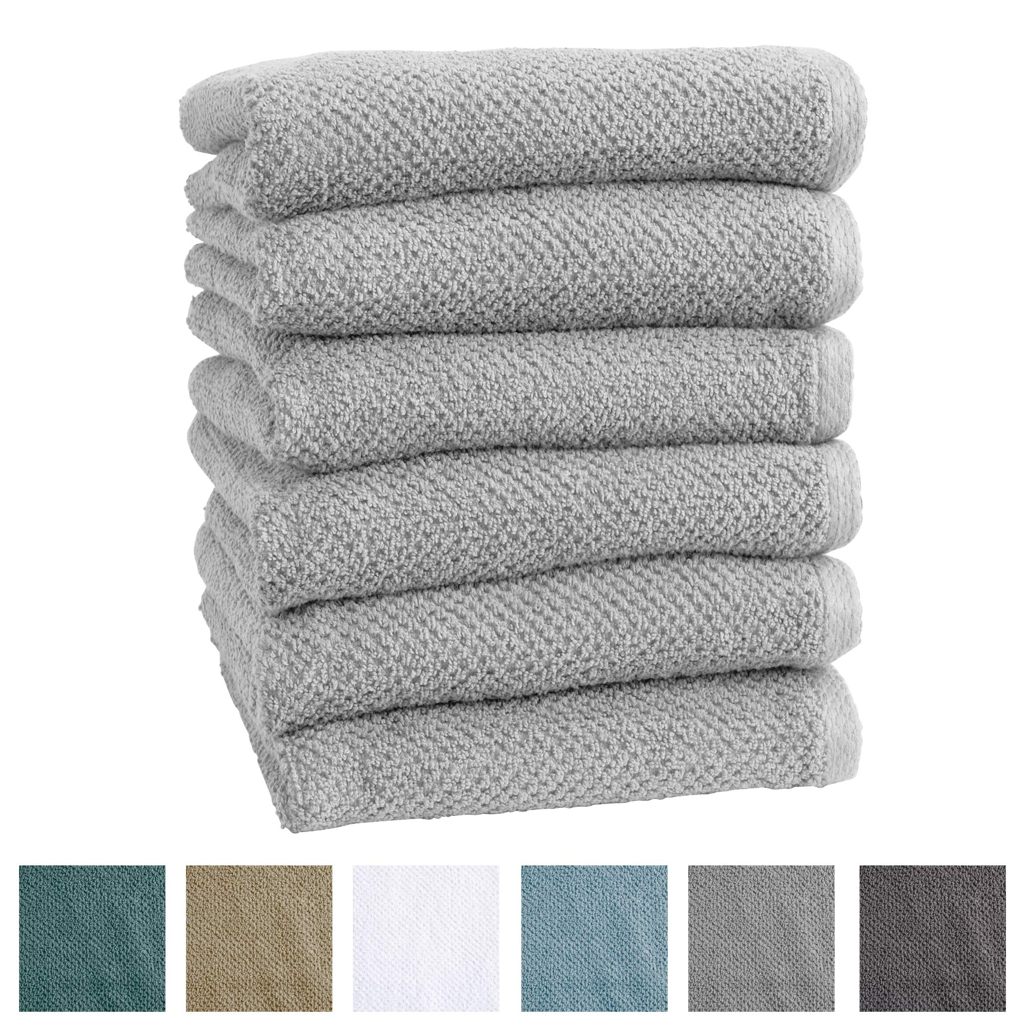 6-Pack 100% Cotton, Ultra-Absorbent Textured Hand Towels. 6 Elegant Solid Colors. Popcorn Weave. Acacia Collection. (Hand 6pk, Light Grey)