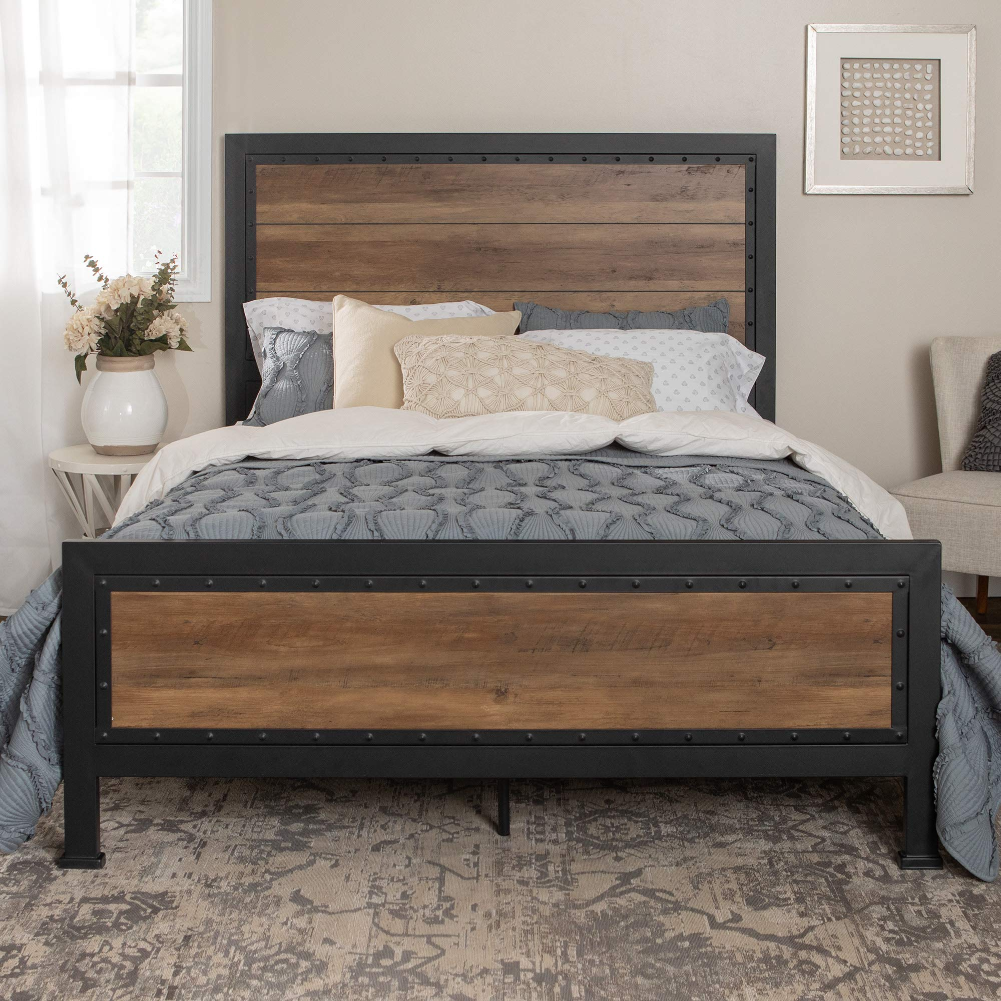Home Accent Furnishings New Rustic Queen Industrial Wood and Metal Bed - Includes Head and Footboard by Home Accent Furnishings