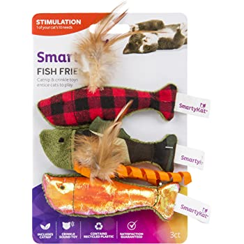 SmartyKat 09683 Fish Friends Crinkle and Catnip Cat Toys (Set of 3)