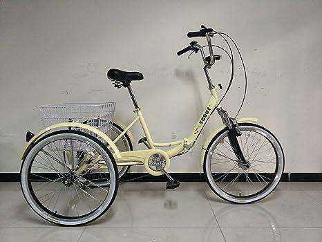Triciclo para adultos con cuadro plegable, ruedas de 60,96 cm ...