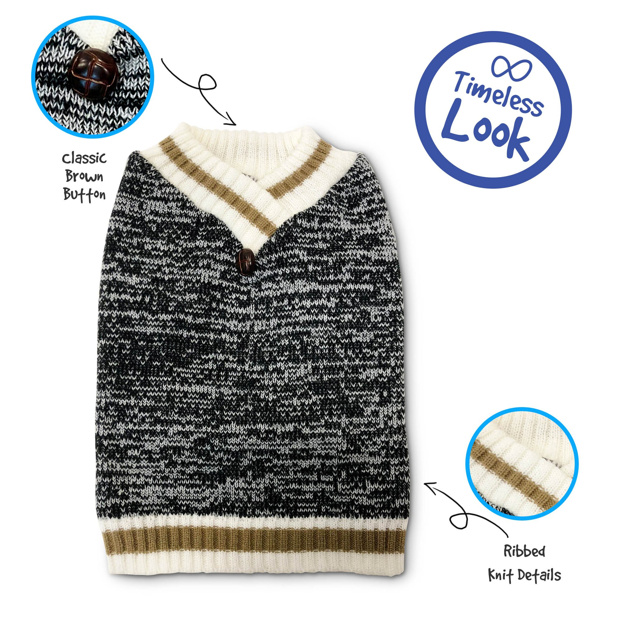 Pet Craft Supply 8971 V-nk Knit Sweater, Medium, Khaki