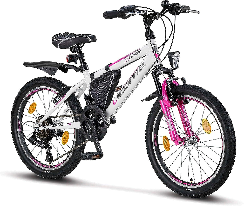 Licorne Bike Guide Bicicleta de montaña de 20, 24 o 26 pulgadas, cambio Shimano de 21 velocidades, suspensión de horquilla, bicicleta infantil, bicicleta para niños y niñas, para hombre y mujer, bolsa