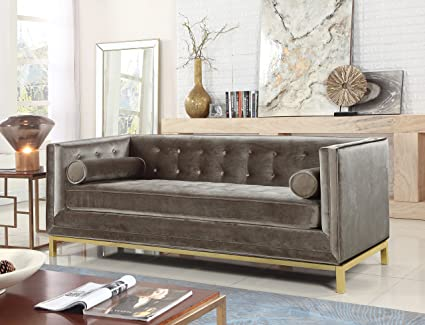 Iconic Home Dafna Club Sofa Sleek Elegant Tufted Velvet Plush Cushion Brass Finished Stainless Steel Brushed Metal Frame Couch, Modern Contemporary, ...
