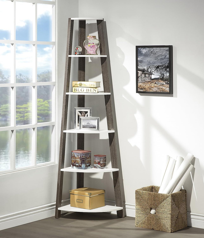 White Grey Finish Two-Tone Wood Wall Corner 5-Tier Bookshelf Bookcase Accent Etagere