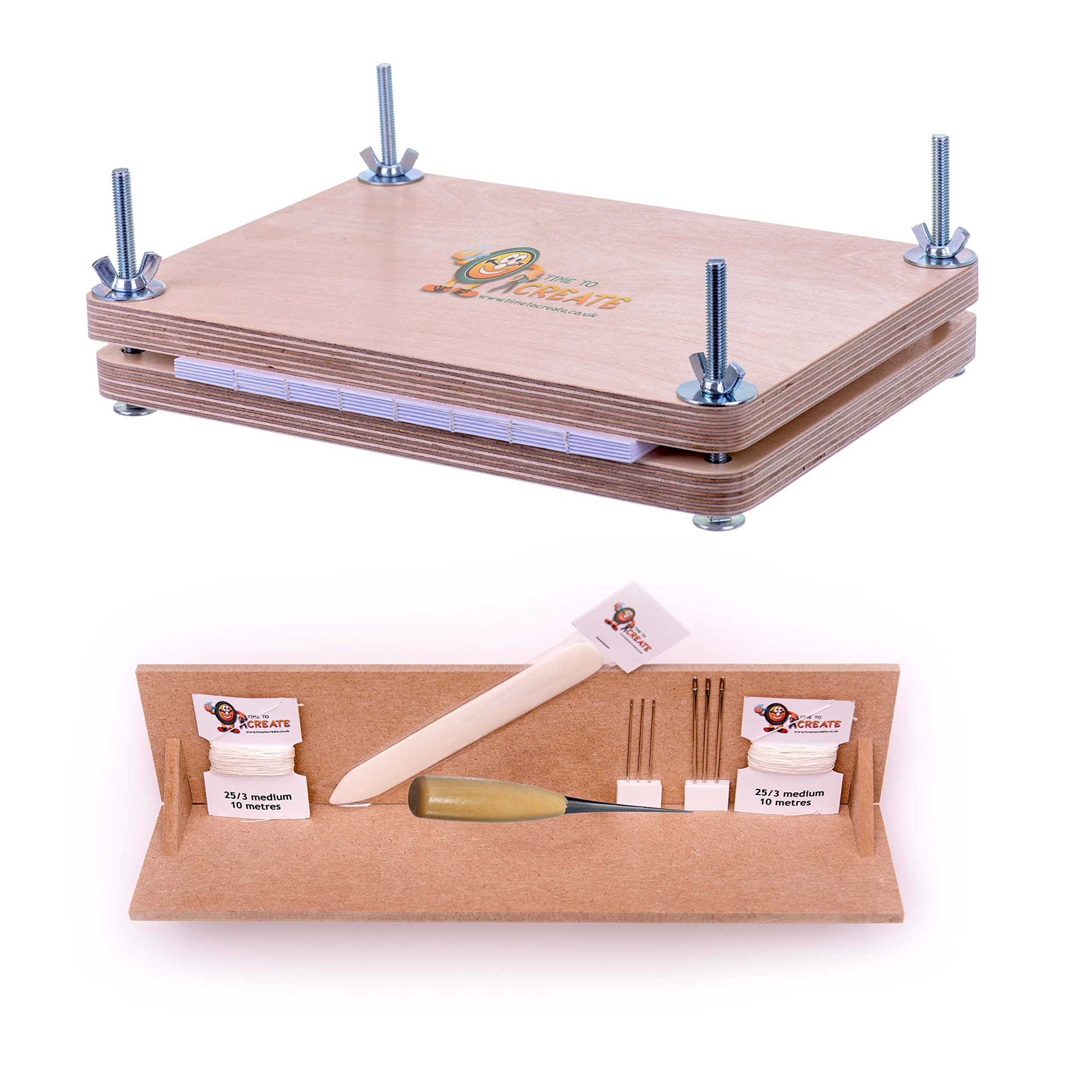 Bookbinding Super Deluxe Starter Kit with Book Press and Punching Cradle - Essential Tools for Book Binding - Bone Folder, Awl, Needles, Waxed Linen Thread, Bookbinding Press and Punching Cradle by Time to Create