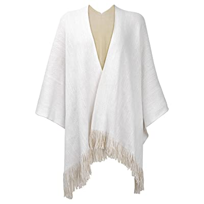 ZLYC Women's Reversible Winter Knitted Faux Cashmere Fringe Poncho Capes Shawl Blanket Wrap Sweater Coat