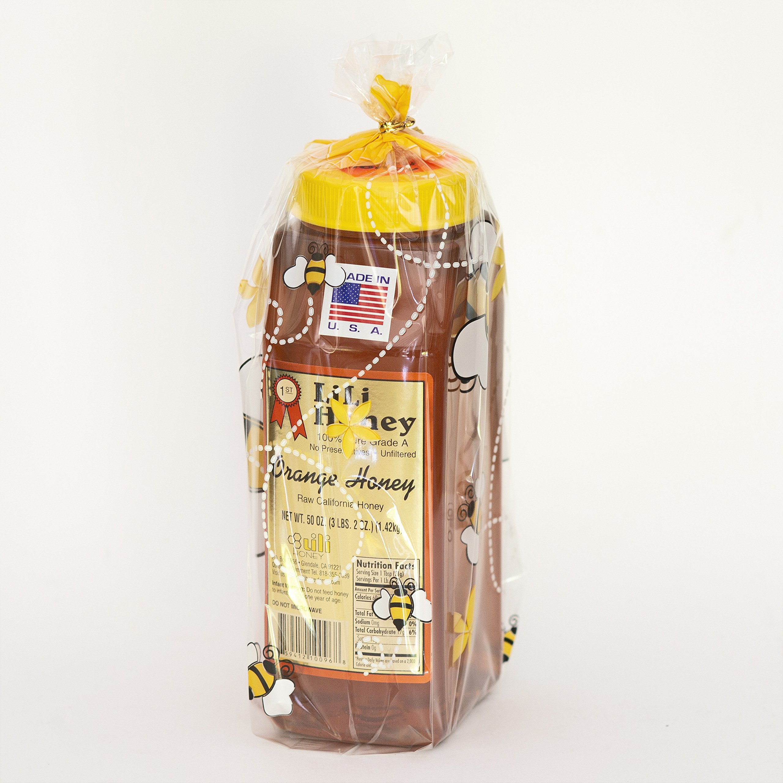 California Raw Orange Honey 50 Ounces/3 1/8 Lb/1.42kg Pure 100% Natural Grade A Gift Wrapped by Lili Farms (Image #2)