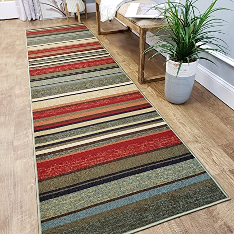 CUSTOM CUT 22-inch Wide by 7-feet Long Runner, Multicolor Stripes Non Slip,  Non-Skid, Rubber Backed Stair, Hallway, Kitchen, Carpet Runner Rug - ...