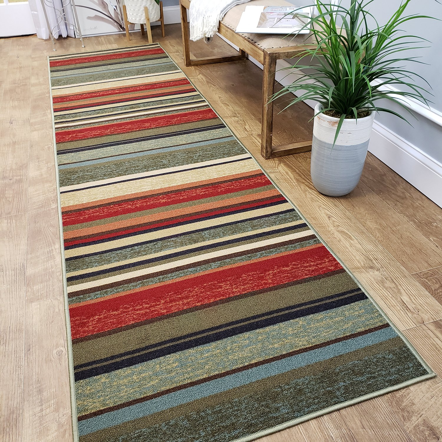 CUSTOM CUT 31-inch Wide by 4-feet Long Runner, Multicolor Stripes Non Slip, Non-Skid, Rubber Backed Stair, Hallway, Kitchen, Carpet Runner Rug - Choose your Width by Length