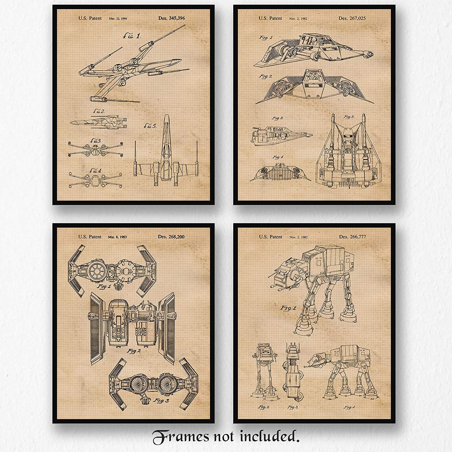 Original Star Wars Patent Poster Prints, Set of 4 Photos (8x10) Unframed, Great Wall Art Decor Gifts Under 20 for Home, Office, Studio, Garage, Man Cave, Shop, Student, Teacher, Comic-Con & Movies Fan