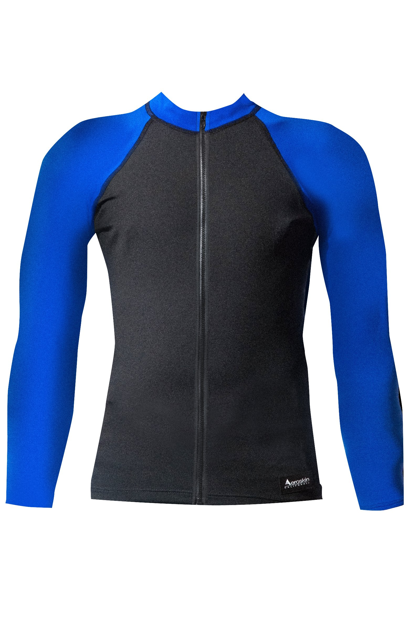 Aeroskin Raglan Long Sleeve Shirt with Color Accents, Fuzzy Collar and Front Zip (Black/Blue, X-Small)