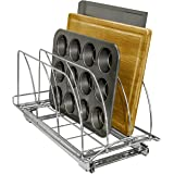 Lynk Slide Out Cutting Board, Bakeware, and Tray Organizer Pull Out Kitchen Cabinet Rack, 10w x 21d x 9.6h -inch, Chrome