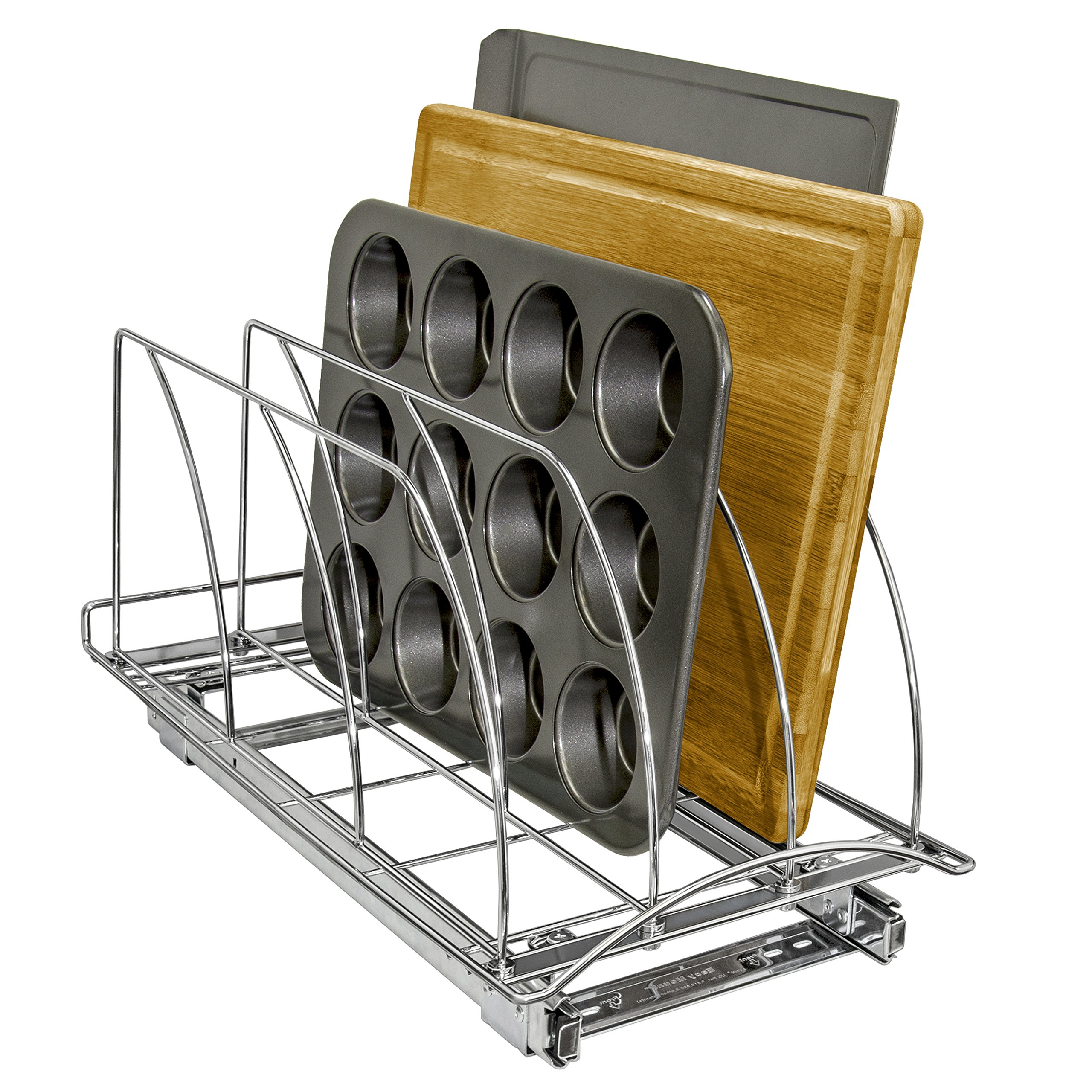 Lynk Professional Professional Slide Out Cutting Board, Bakeware, and Tray Organizer with Pull Out Kitchen Cabinet Rack, 10w x 21d x 9.6h -inch, Chrome by Lynk