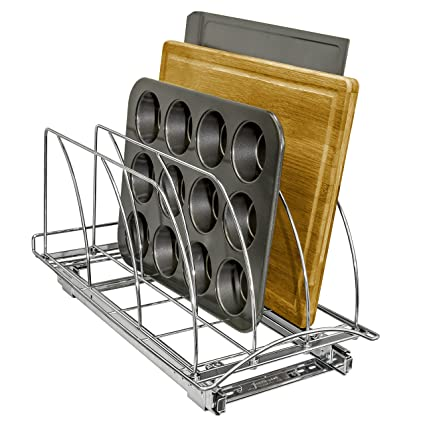 Lynk Professional Slide Out Cutting Board, Bakeware Tray Organizer   Pull  Out Kitchen Cabinet Rack