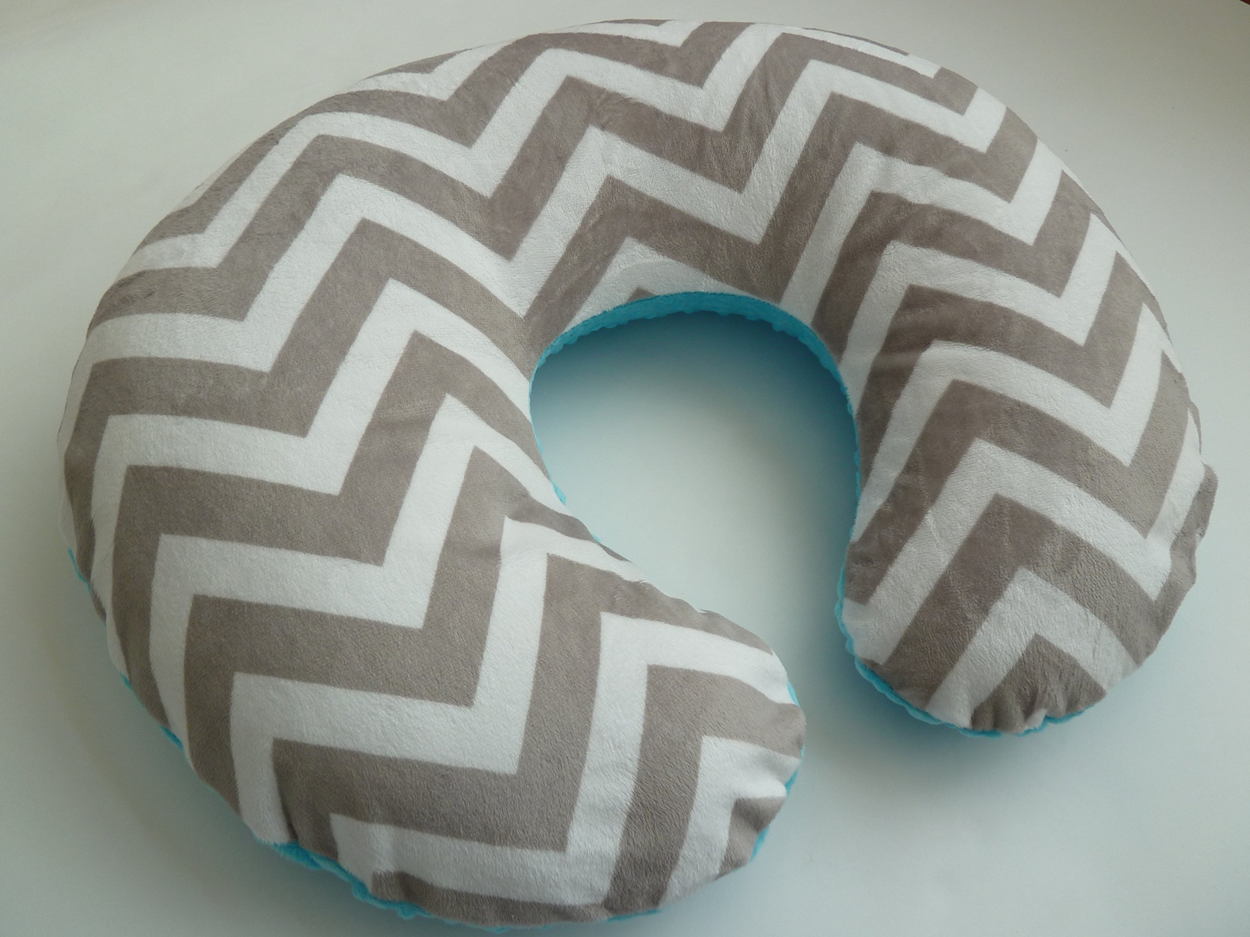 Nursing Pillow Cover. Silver Chevron Minky. You Choose the Dimple Dot Back. Back is pictured with Turquoise Dimple Dot.