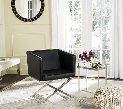 Editors' Choice: Safavieh Home Collection Celine Black and Chrome Modern Glam Bonded Leather Cross Leg Chair