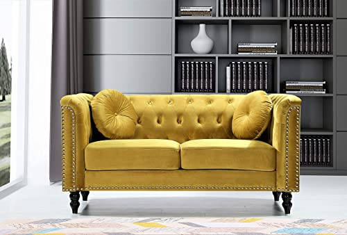 US Pride Furniture Whetzel Chesterfield 64 ' Rolled Arms Loveseat Love Seats