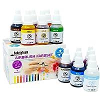 bakeryteam Airbrush Lebensmittelfarben Set mit Reiniger (12 x 20ml)